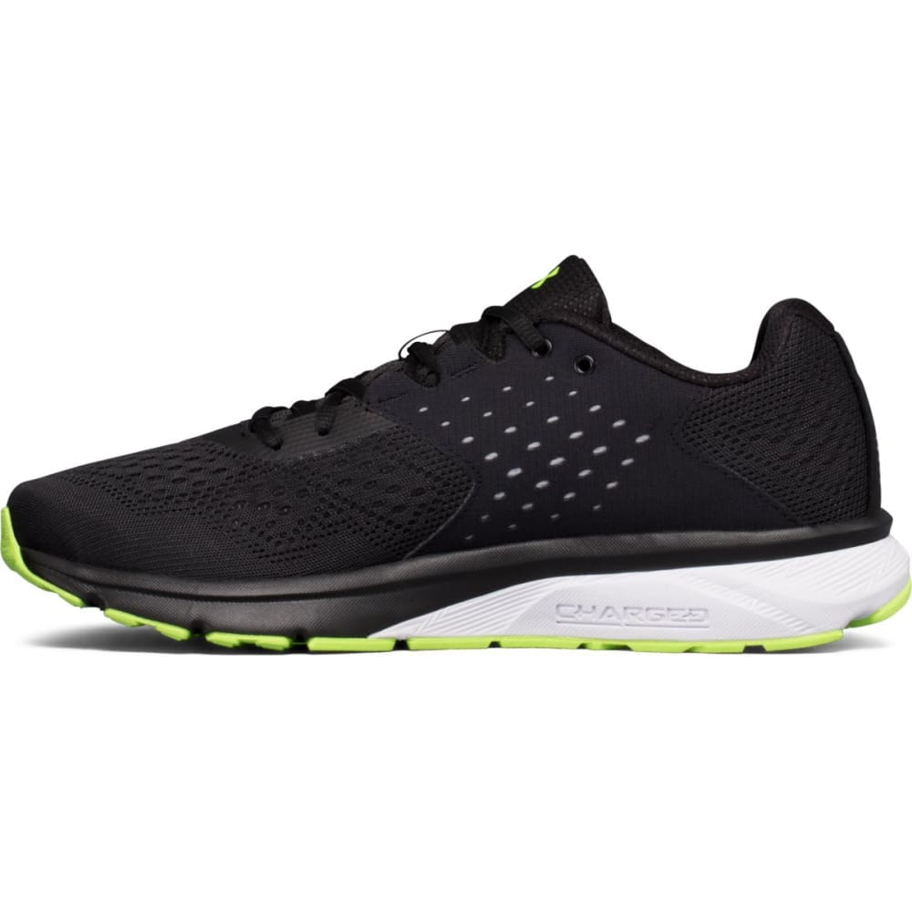 UNDER ARMOUR Men's UA Charged Rebel Running Shoes, Black/Overcast/Quirky Lime - BLACK