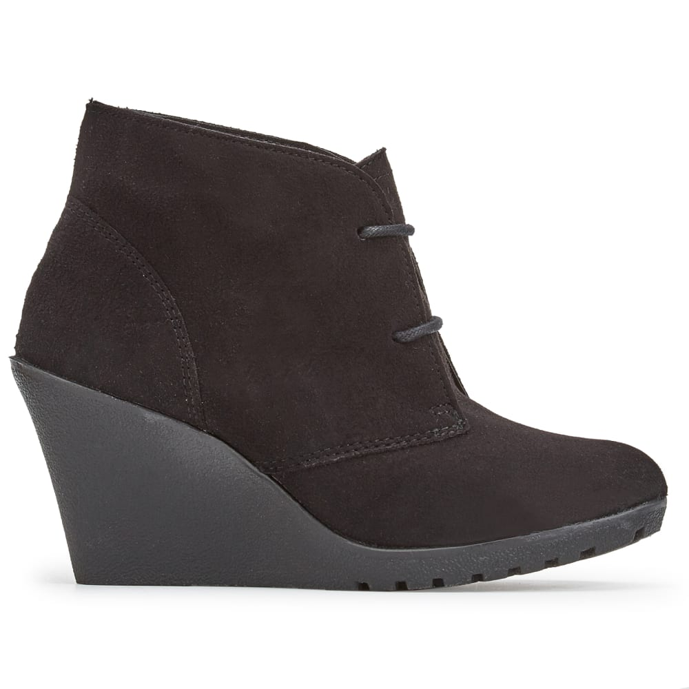 WHITE MOUNTAIN Women's Irma Lace-Up Wedge Booties - BLACK