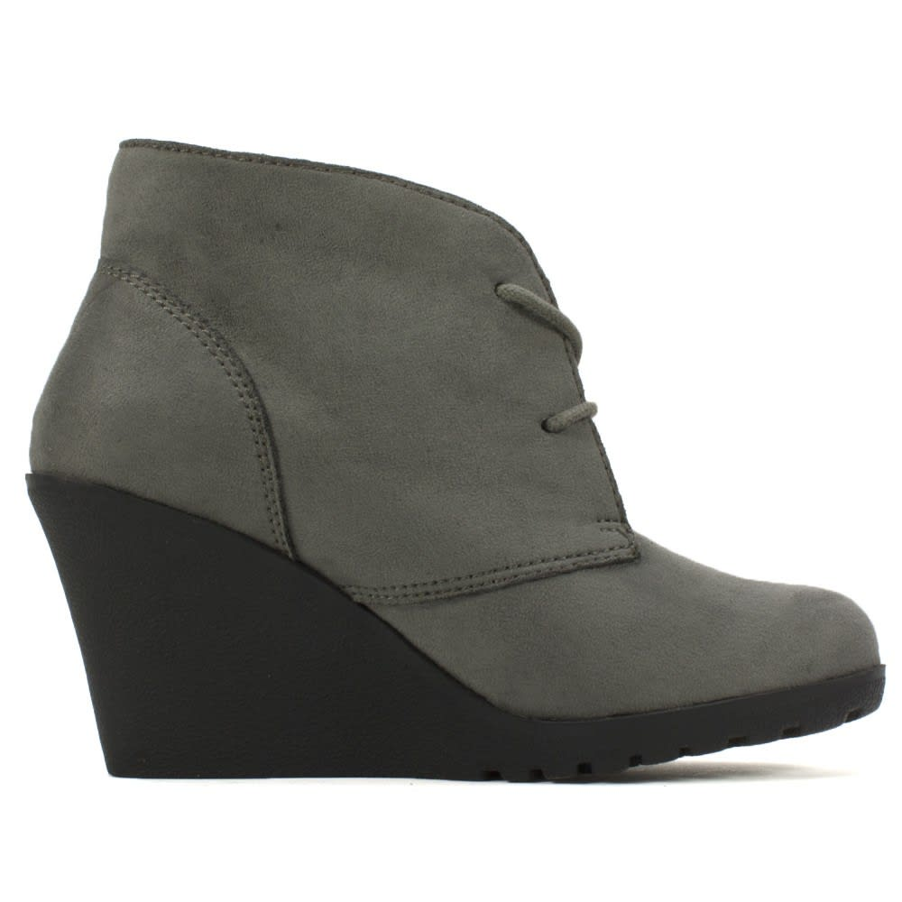 WHITE MOUNTAIN Women's Irma Lace-Up Wedge Booties - CHARCOAL