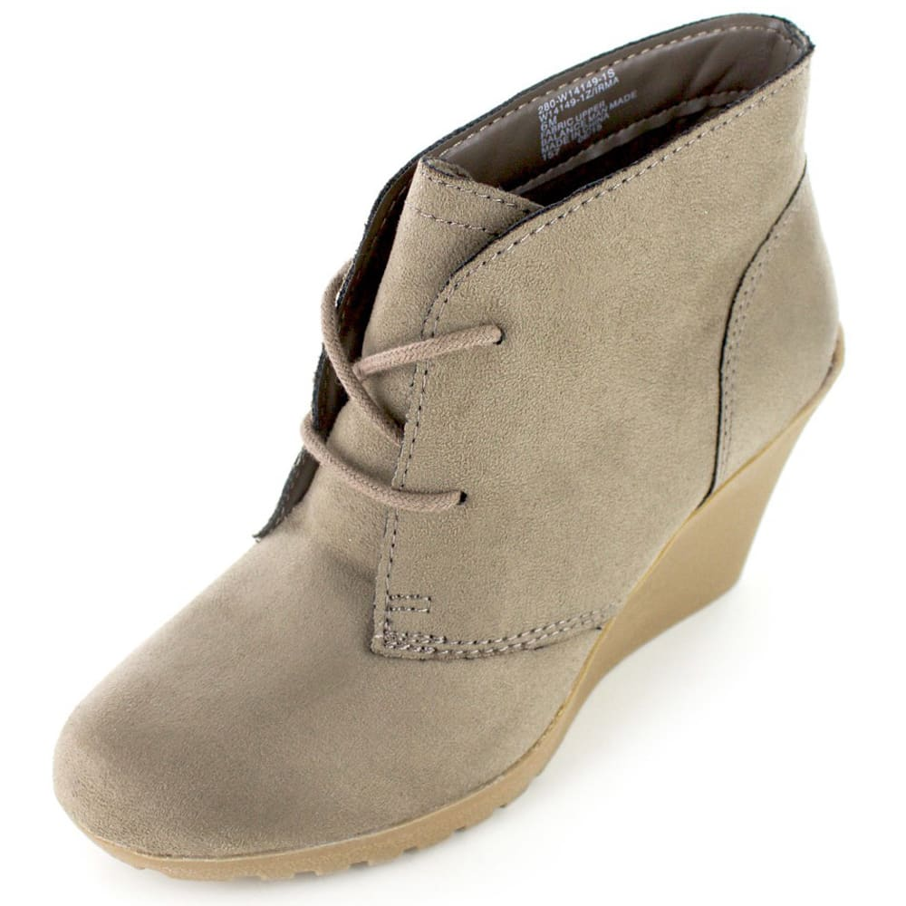 WHITE MOUNTAIN Women's Irma Lace-Up Wedge Booties - TAUPE