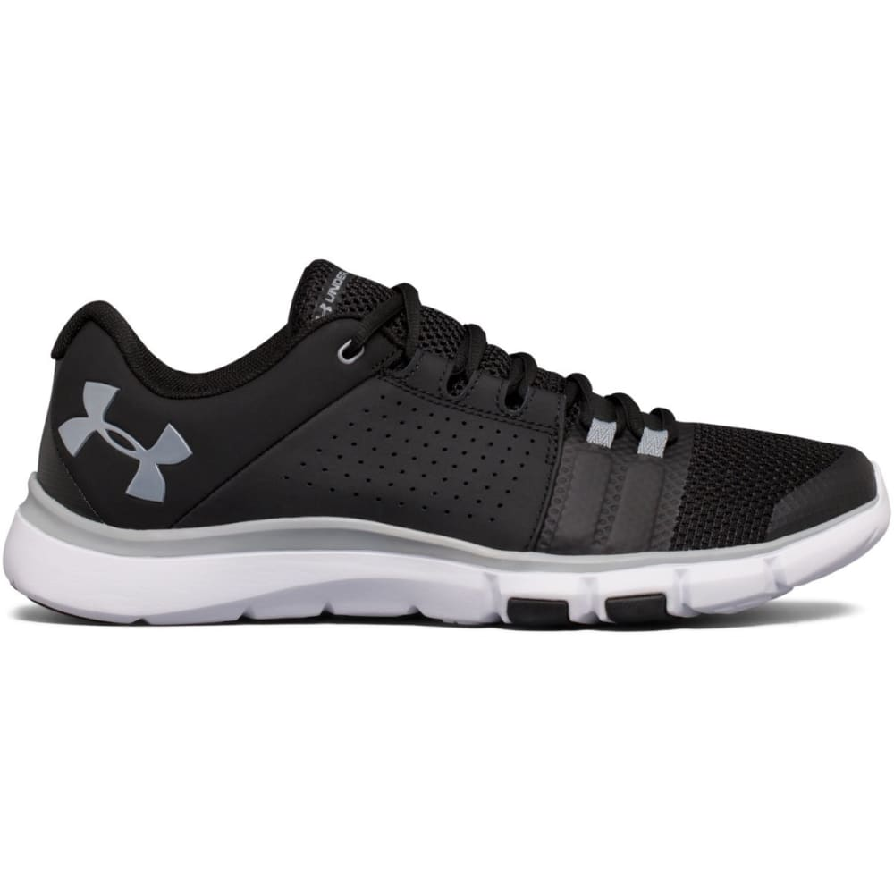 UNDER ARMOUR Men's Strive 7 Cross-Training Shoes, Black/White/Steel 7.5