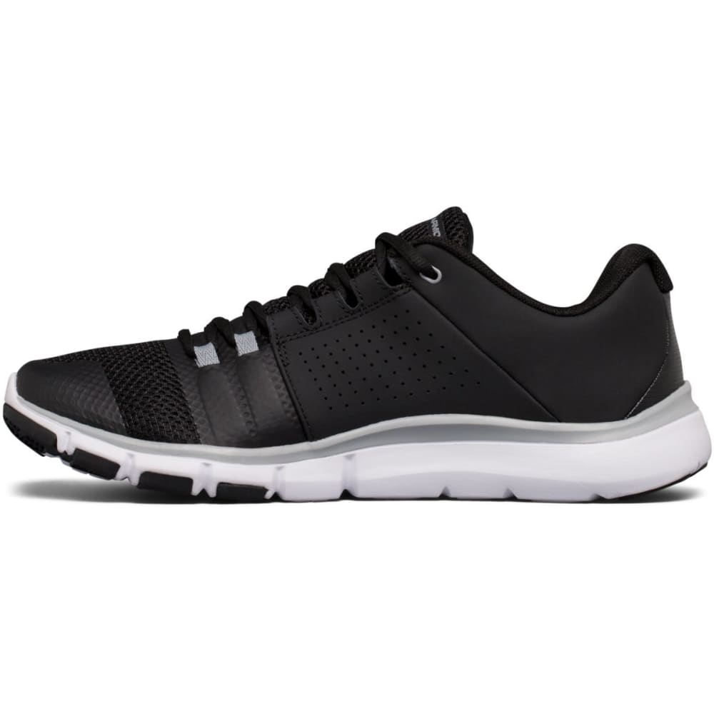 UNDER ARMOUR Men's Strive 7 Cross-Training Shoes, Black/White/Steel, Wide - BLACK
