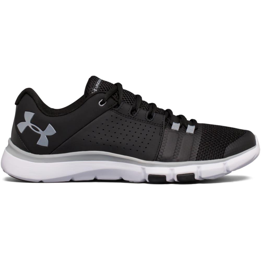UNDER ARMOUR Men's Strive 7 Cross-Training Shoes, Black/White/Steel, Wide 7.5