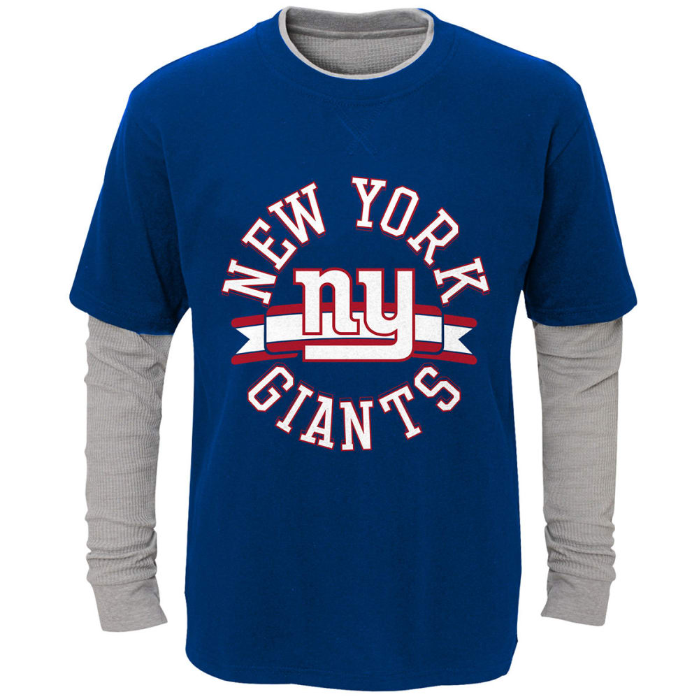 NEW YORK GIANTS Boys' Definitive Faux Layer Long-Sleeve Tee - ROYAL BLUE