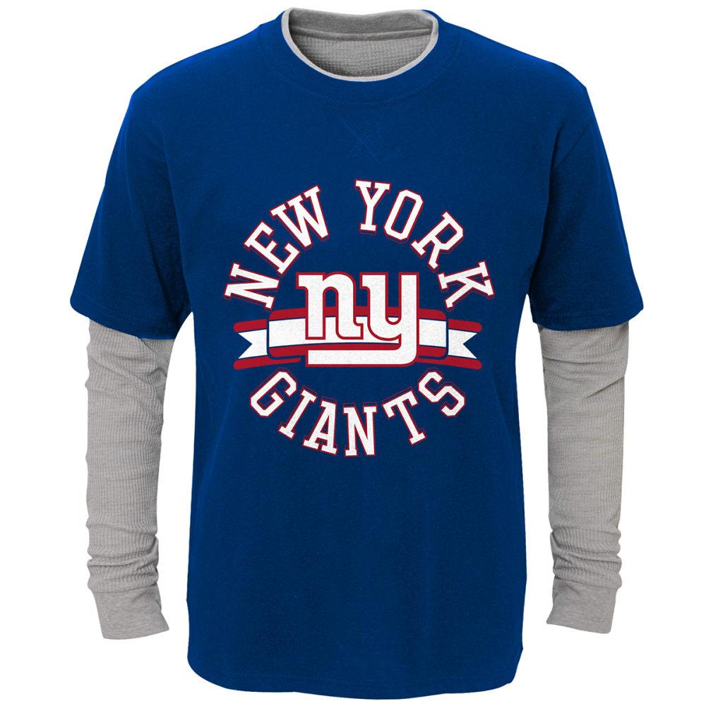 NEW YORK GIANTS Boys' Definitive Faux Layer Long-Sleeve Tee - ROYAL BLUE