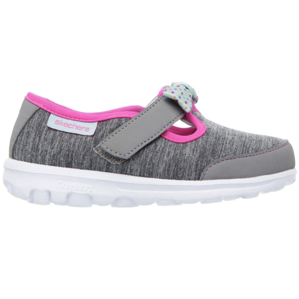 SKECHERS Girls' GoWalk  Bitty Bow Shoes, Gray - GREY