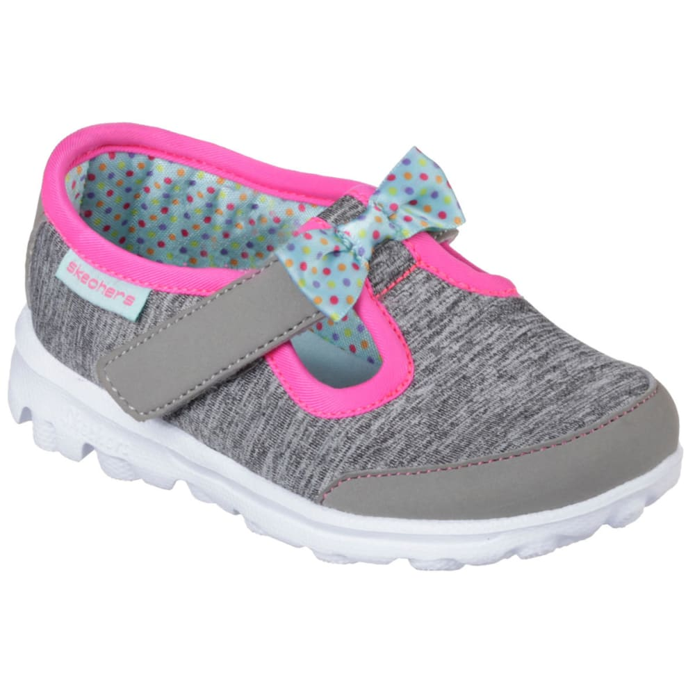 SKECHERS Girls' GoWalk  Bitty Bow Shoes, Gray 5