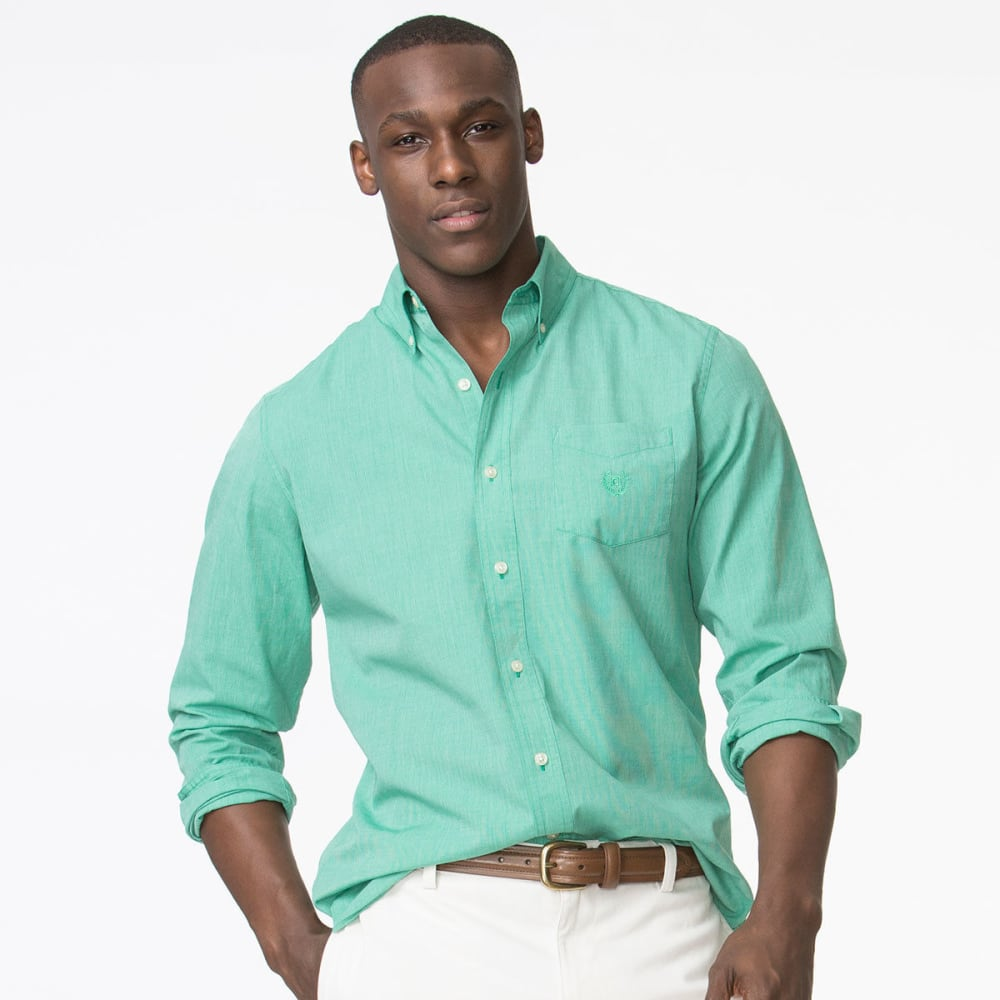 Chaps Men's Easy Care Solid Woven Long-Sleeve Shirt - Green, M