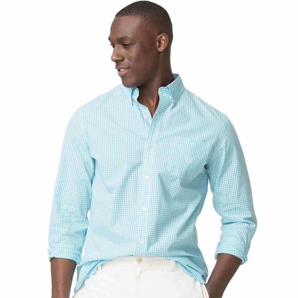 CHAPS Men's Easy Care Gingham Woven Long-Sleeve Shirt - TURQUOISE-007