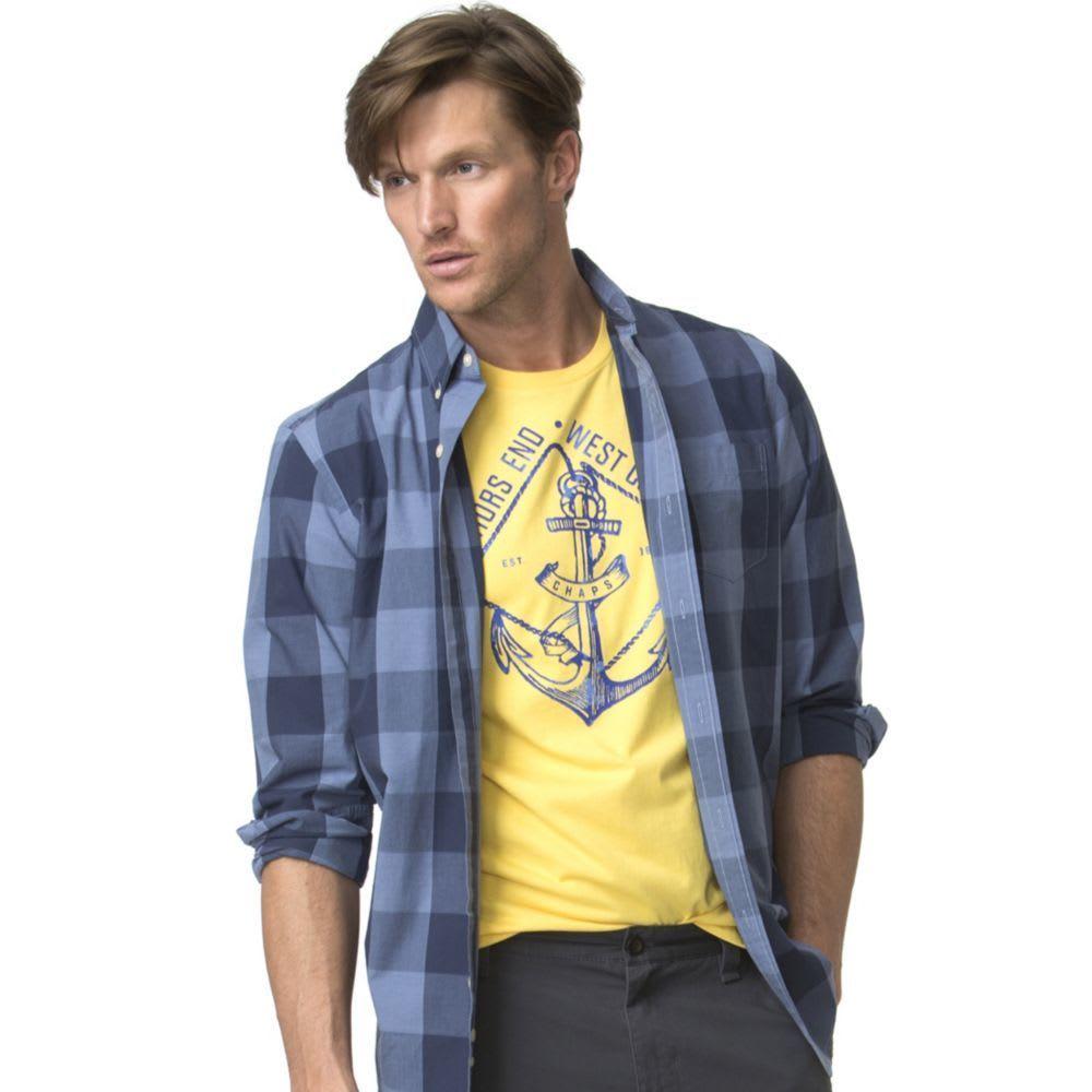 CHAPS Men's Easy Care Buffalo Plaid Woven Long-Sleeve Shirt - POLO BLUE-001
