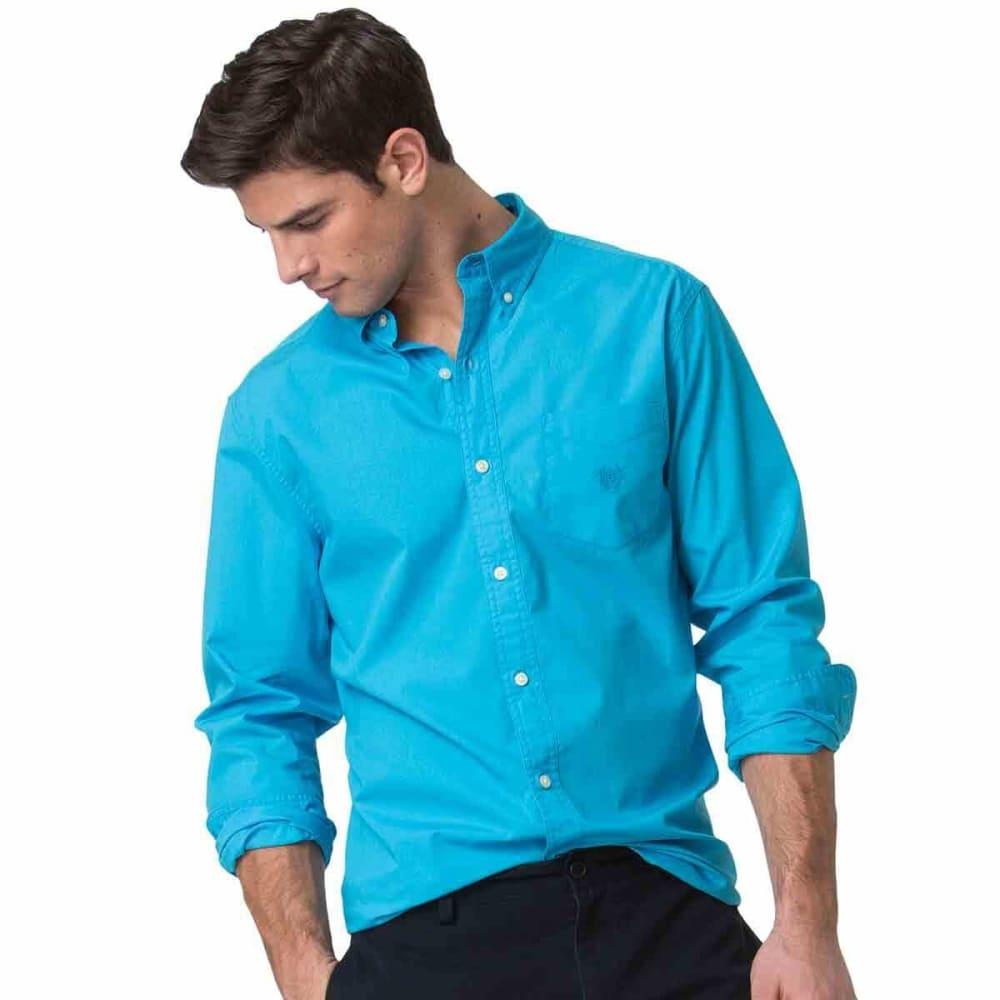 CHAPS Men's Piece Dye Solid Woven Long-Sleeve Shirt M