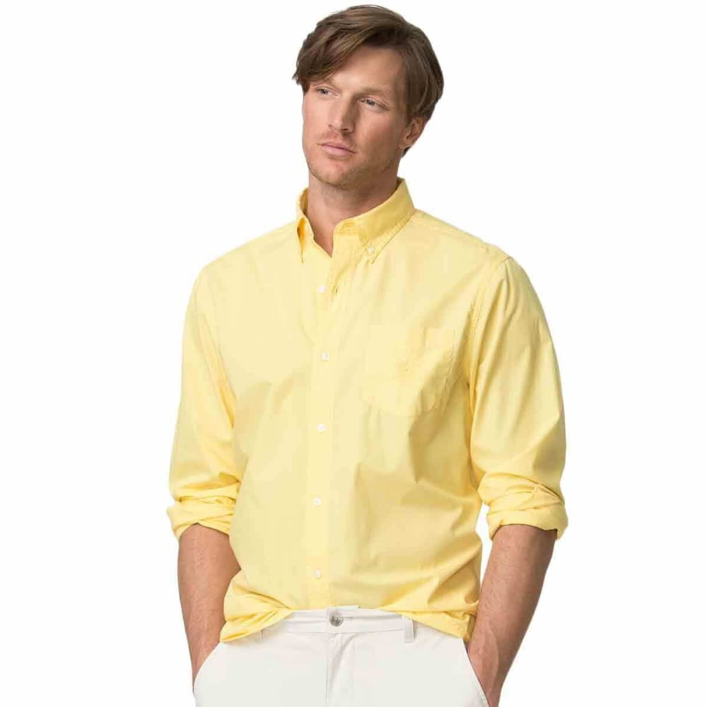 Chaps Men's Piece Dye Solid Woven Long-Sleeve Shirt - Yellow, M