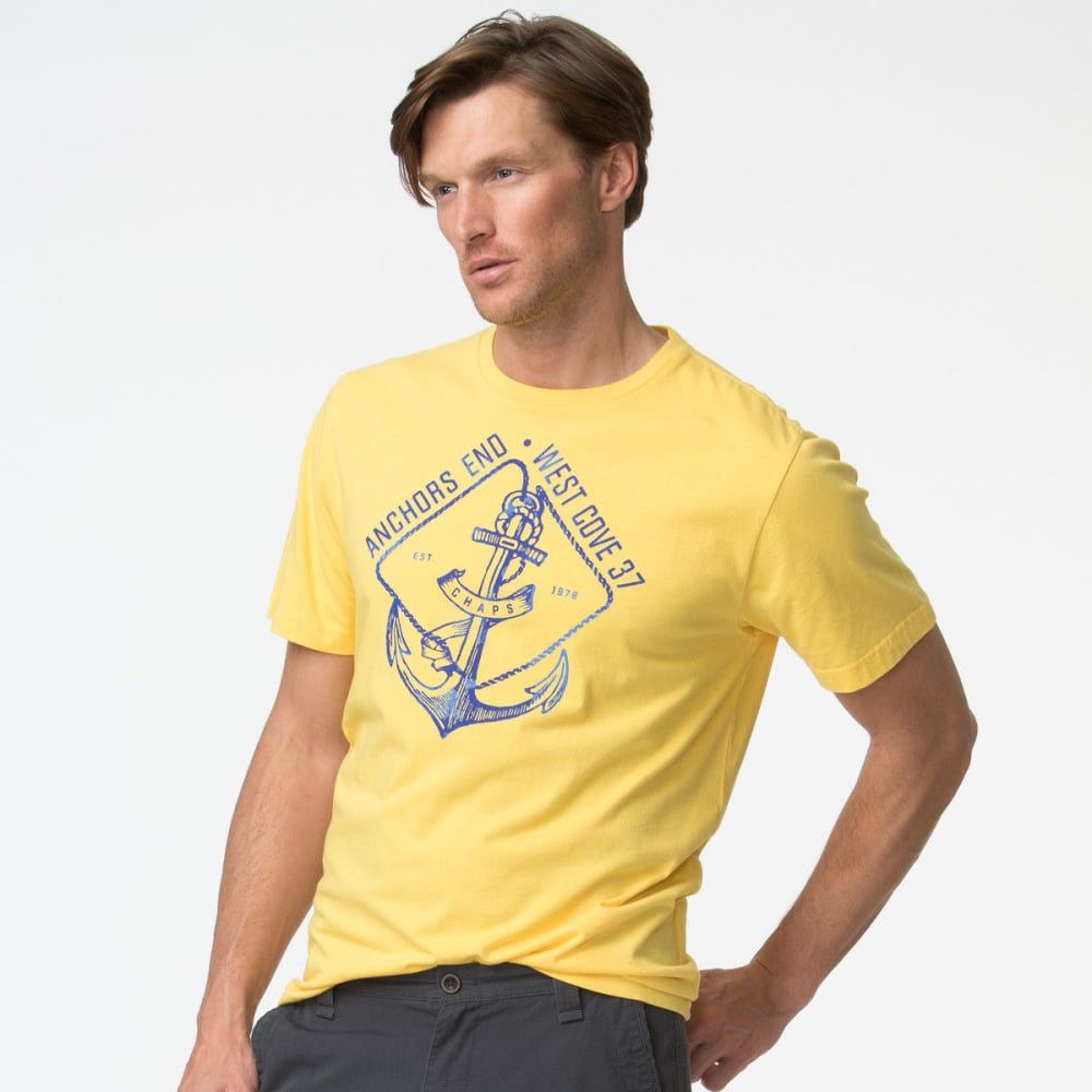 Chaps Men's Anchor Short Sleeve Tee - Yellow, M