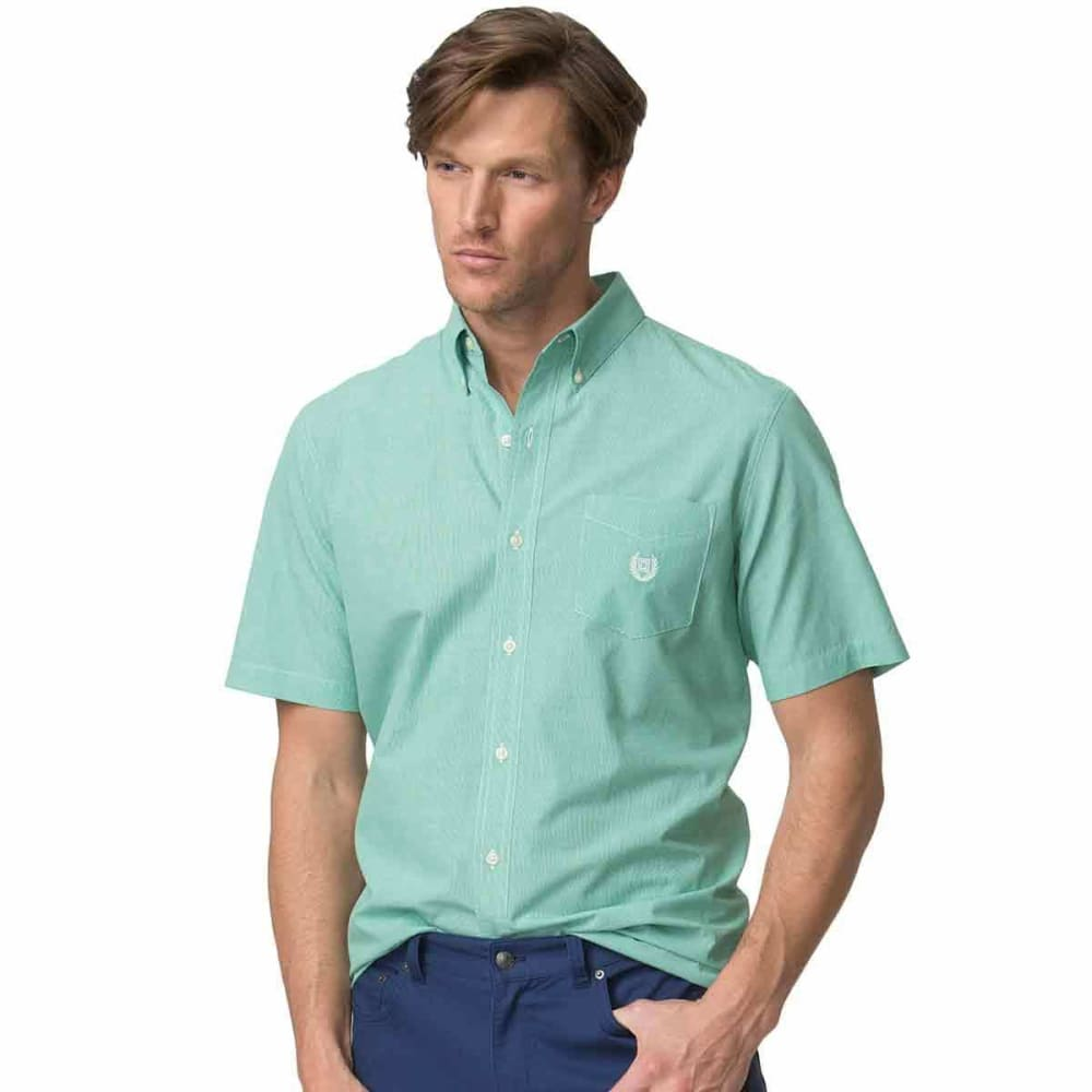 CHAPS Men's Easy Care Micro Houndstooth Woven Short-Sleeve Shirt - CHROMA GRN-002