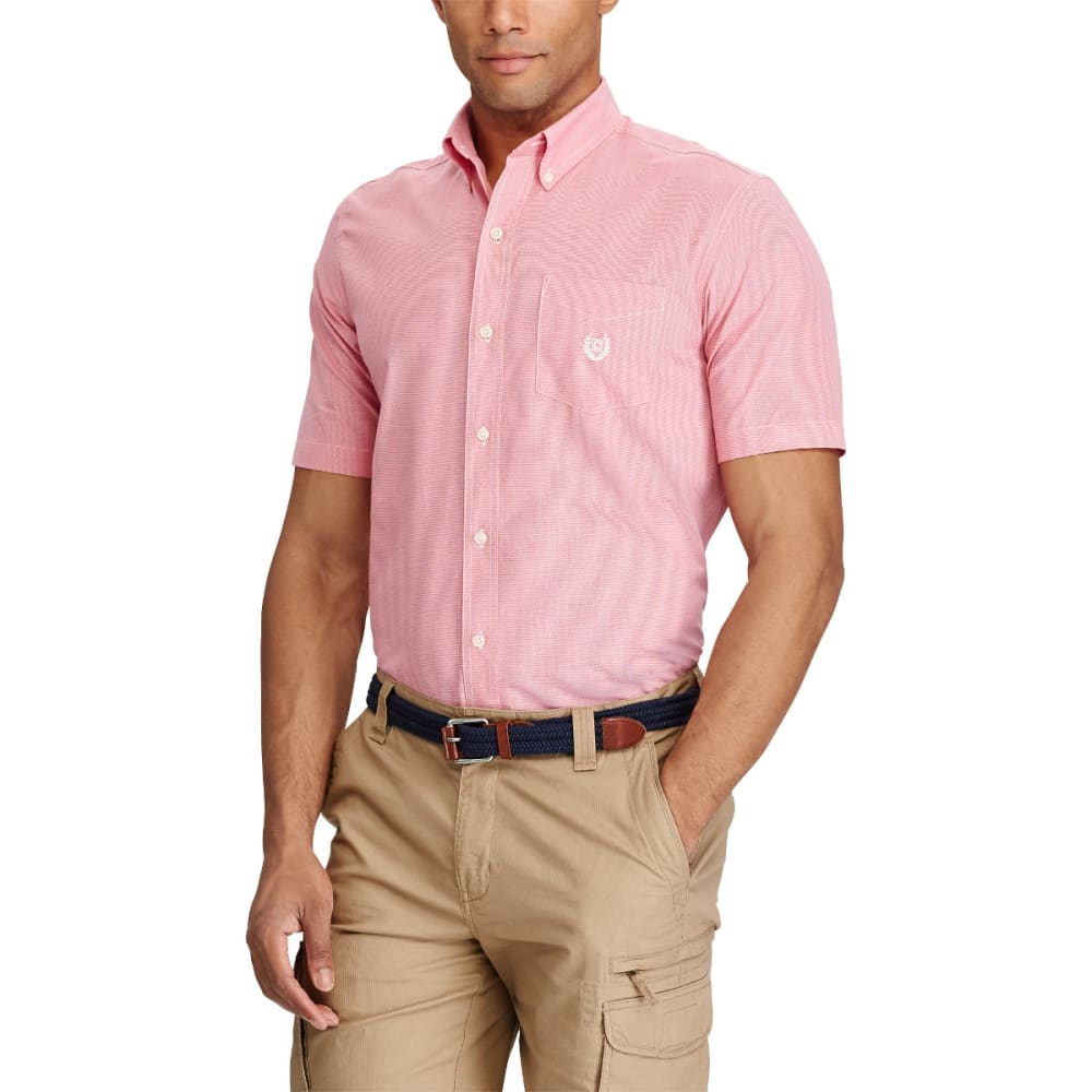CHAPS Men's Easy Care Micro Houndstooth Woven Short-Sleeve Shirt - RASP SHERBET-003