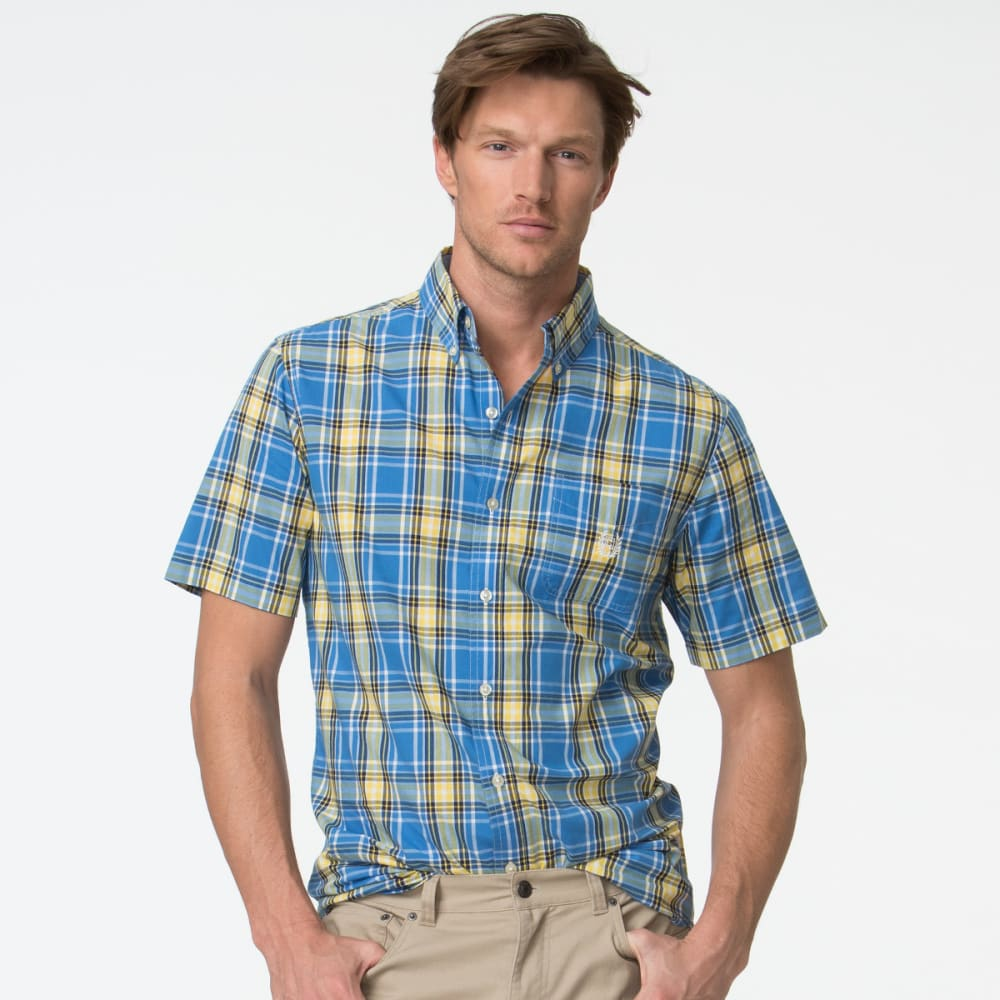 CHAPS Men's Short Sleeve Woven Plaid Poplin Shirt - BRILLIANT BLU-002
