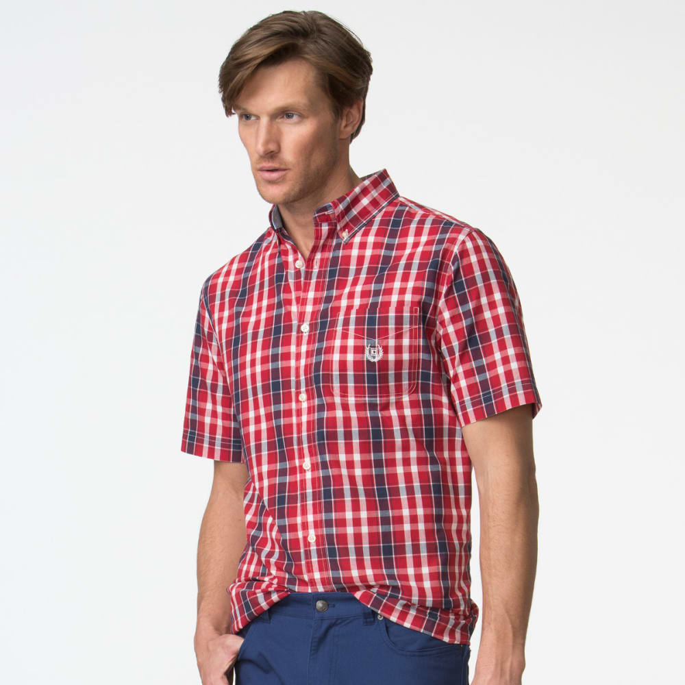 CHAPS Men's Short Sleeve Woven Plaid Poplin Shirt - CHAPS RED-002