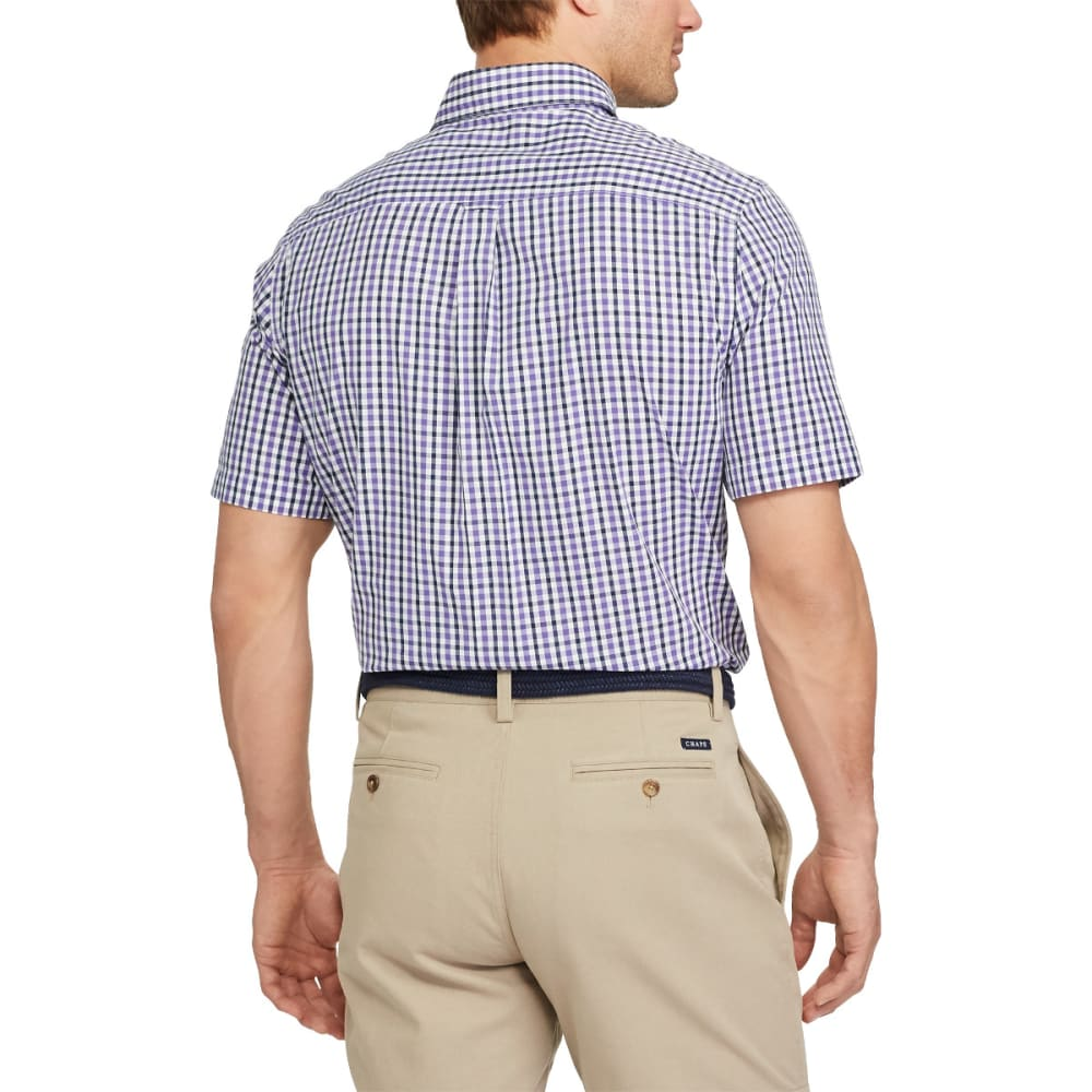 CHAPS Men's Easy Care Gingham Woven Short-Sleeve Shirt - VERY PURPLE-001