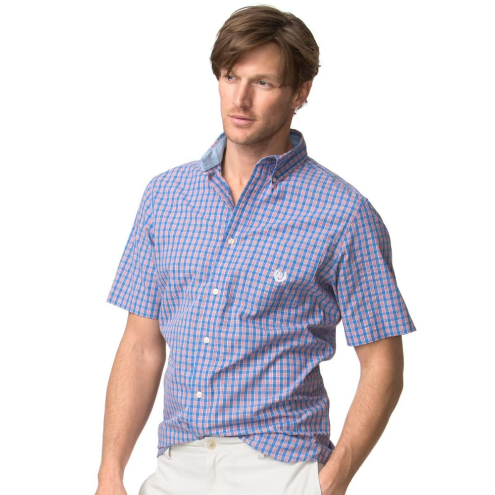 CHAPS Men's Easy Care Short Sleeve Checked Poplin Shirt - BRILLIANT BLU-003
