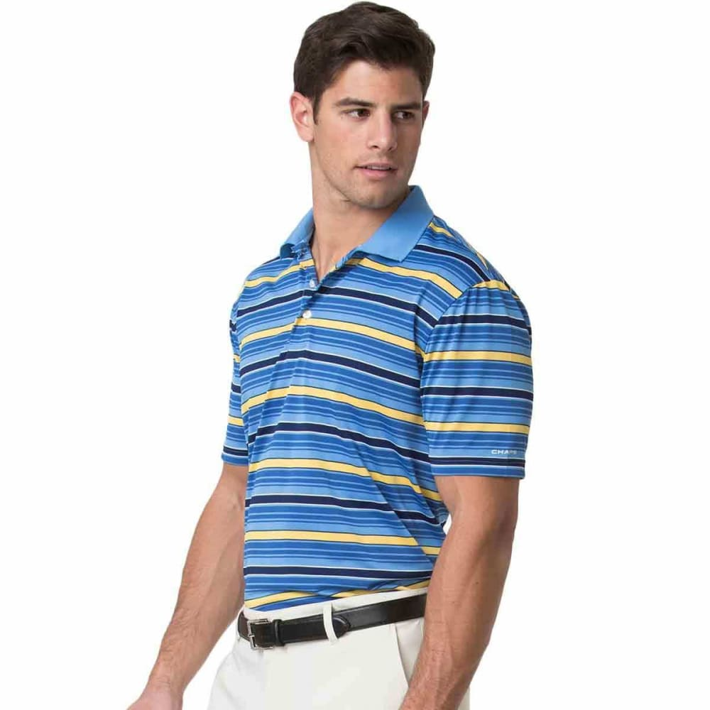 CHAPS Men's Golf Jacquard Text Stripe Polo Short-Sleeve Shirt - COSMO BLUE-001