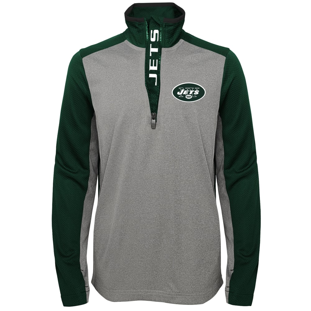 NEW YORK JETS Boys' Matrix ¼-Zip Poly Pullover - GREY