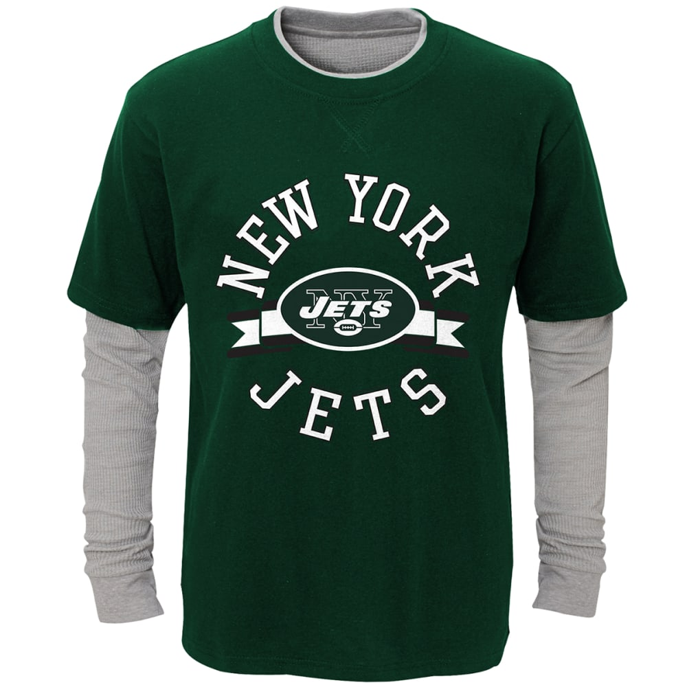 NEW YORK JETS Boys' Definitive Faux Layer Long-Sleeve Tee - GREEN