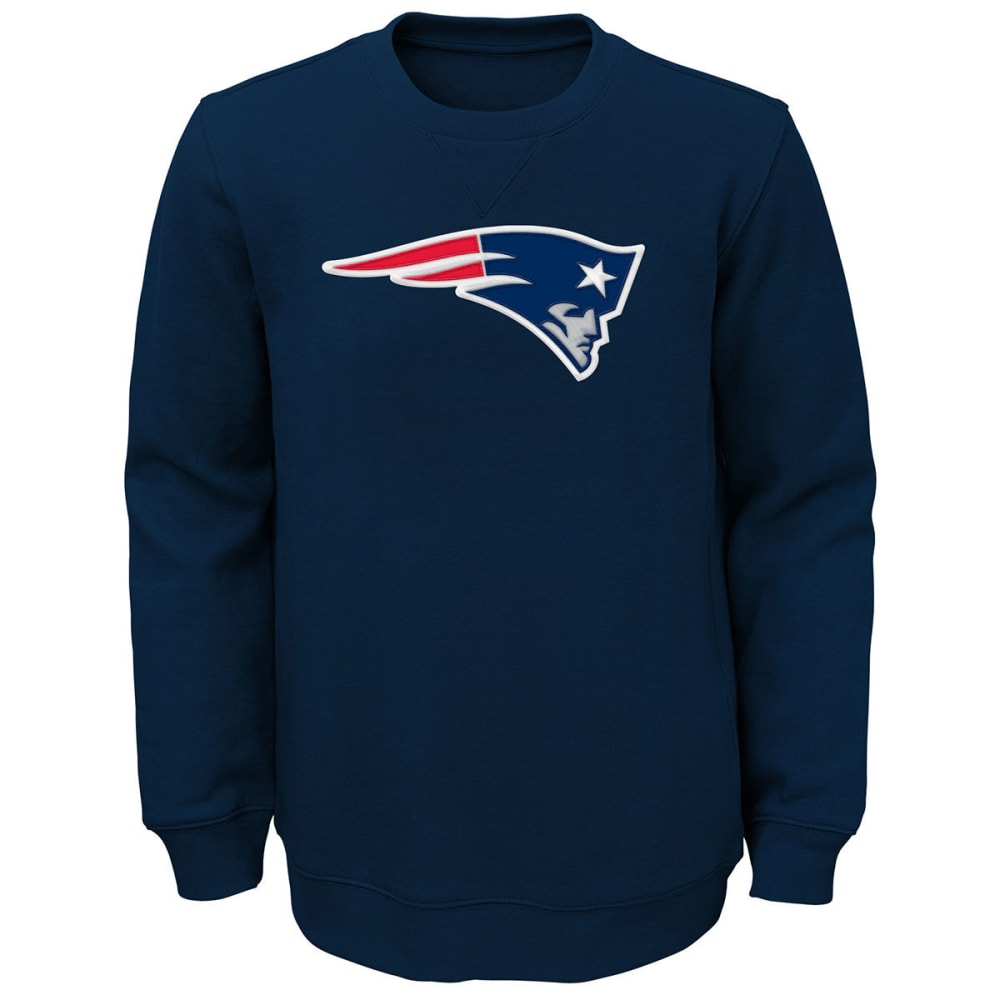 NEW ENGLAND PATRIOTS Boys' Prime Fleece Crew Pullover - NAVY