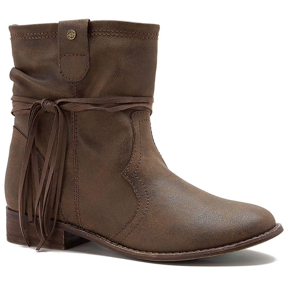 SUGAR Women's Imlate Fringe Wrap Booties - DARK BROWN