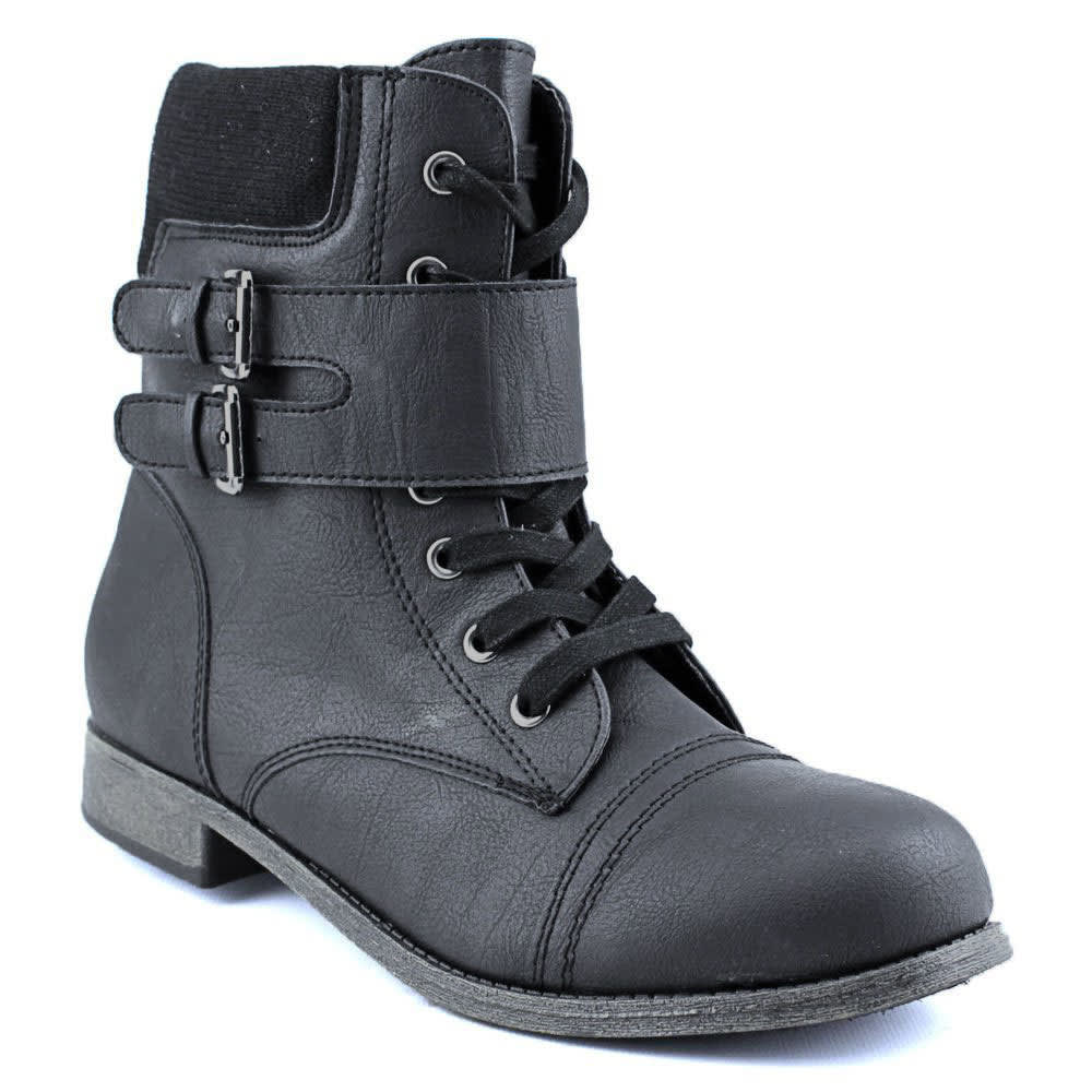 RAMPAGE Women's Jency Lace-Up Combat Boots - BLACK