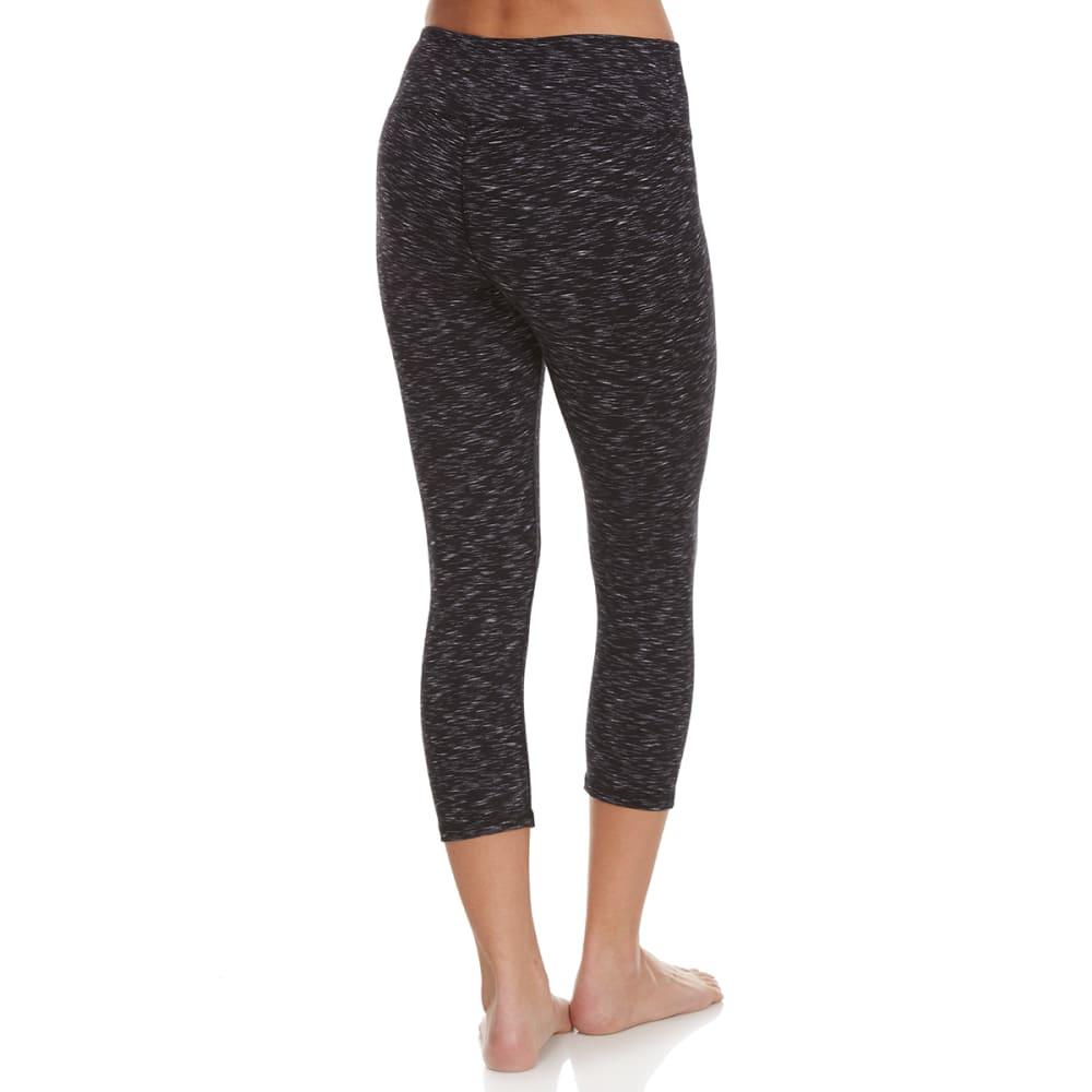 RBX Women's Space Dye Yoga Capris - BLACK/WHITE COMBO-A