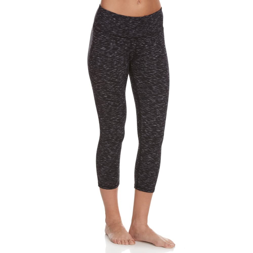 RBX Women's Space Dye Yoga Capris - BLACK/WHITE COMBO-A