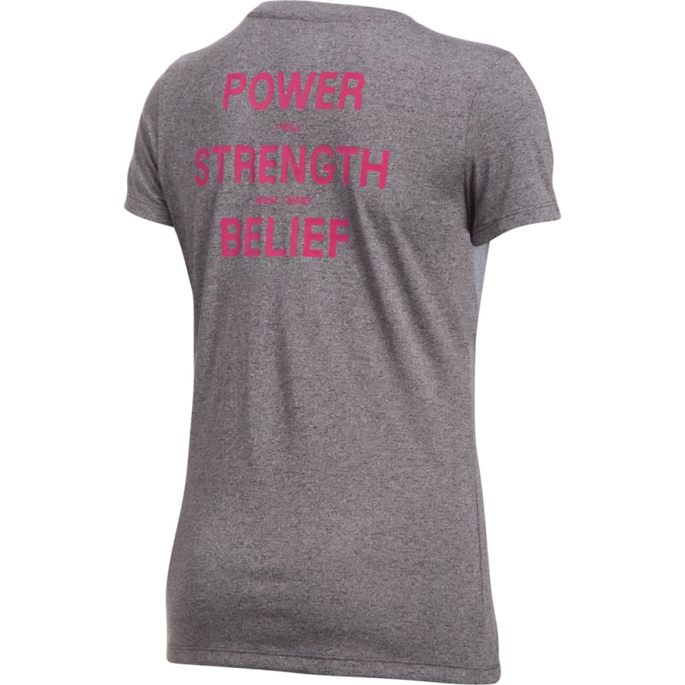 UNDER ARMOUR Women's Power in Pink Tech Crew Short-Sleeve Tee - CARBON HTR-090
