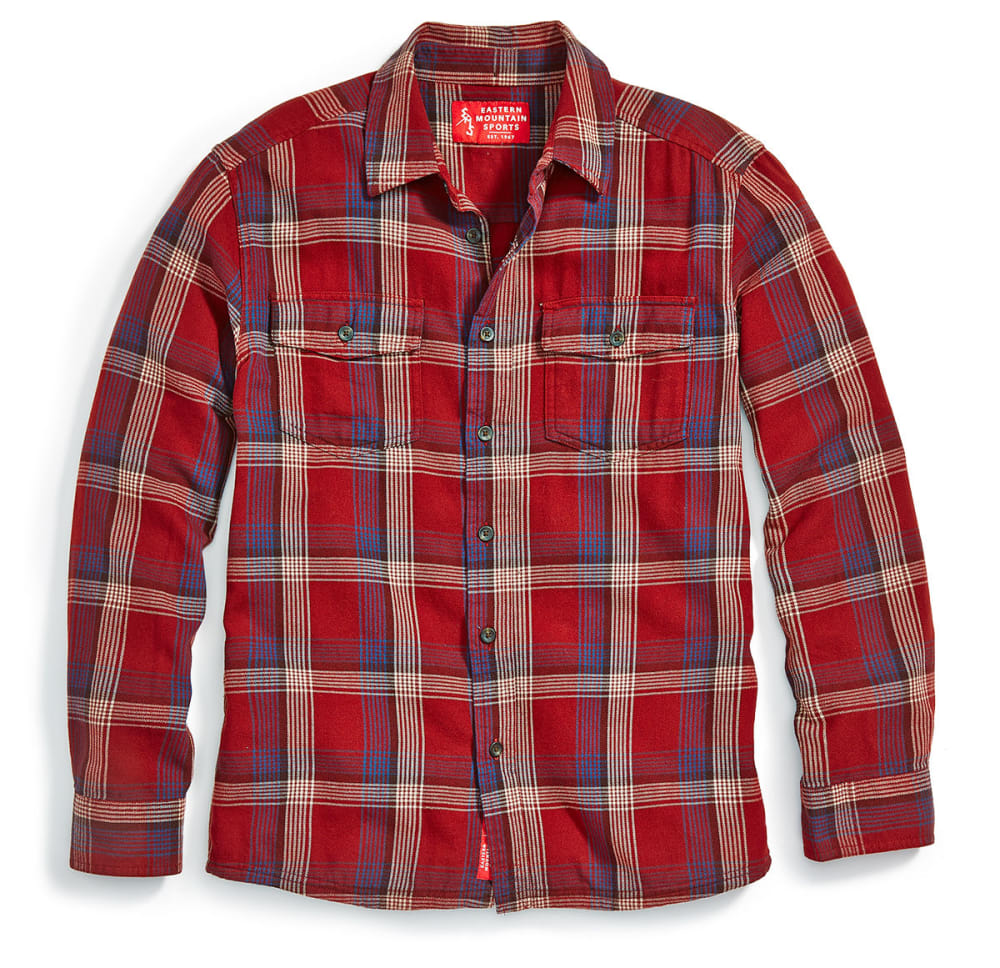 Ems Men's Cabin Flannel Long-Sleeve Shirt - Red, XL