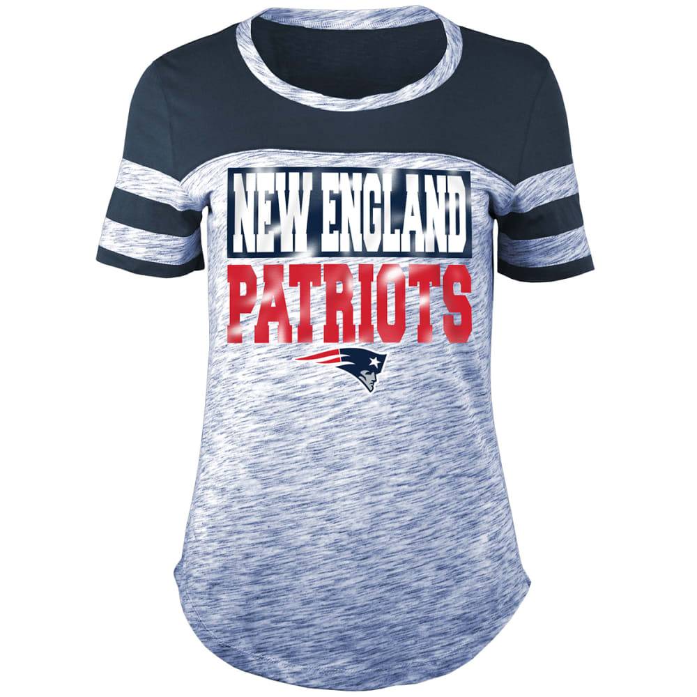 NEW ENGLAND PATRIOTS Women's Space-Dye Foil Crew Short-Sleeve Tee - NAVY