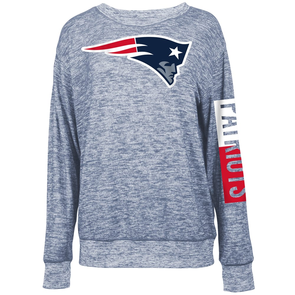 New England Patriots Women's Space-Dye Rayon Crew Long-Sleeve Shirt - Blue, S
