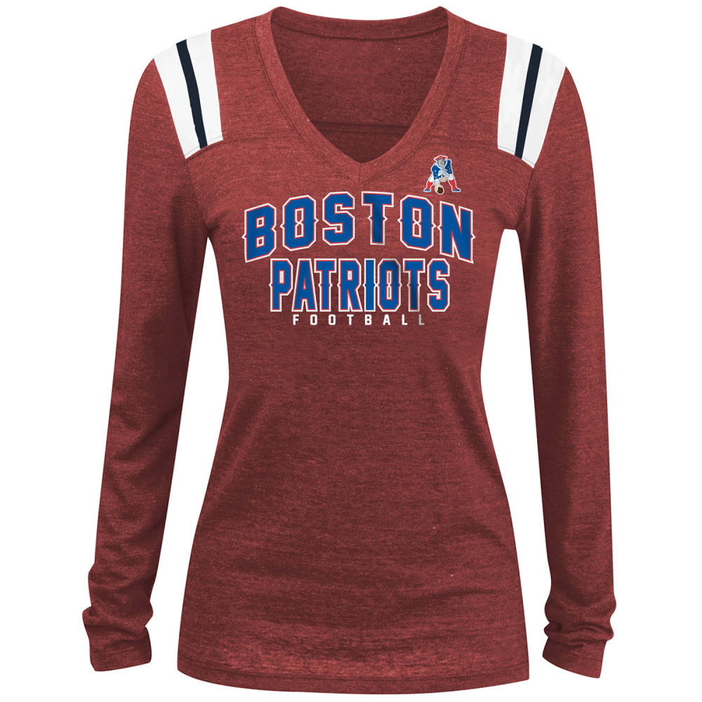 NEW ENGLAND PATRIOTS Women's Tri-Blend V-Neck Long-Sleeve Tee - RED