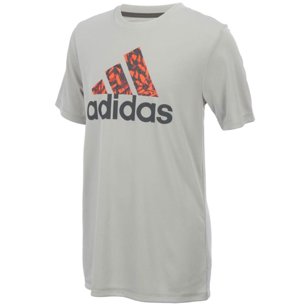 ADIDAS Boys' Badge of Sport Poly Logo Tee - GREY TWO-AH08