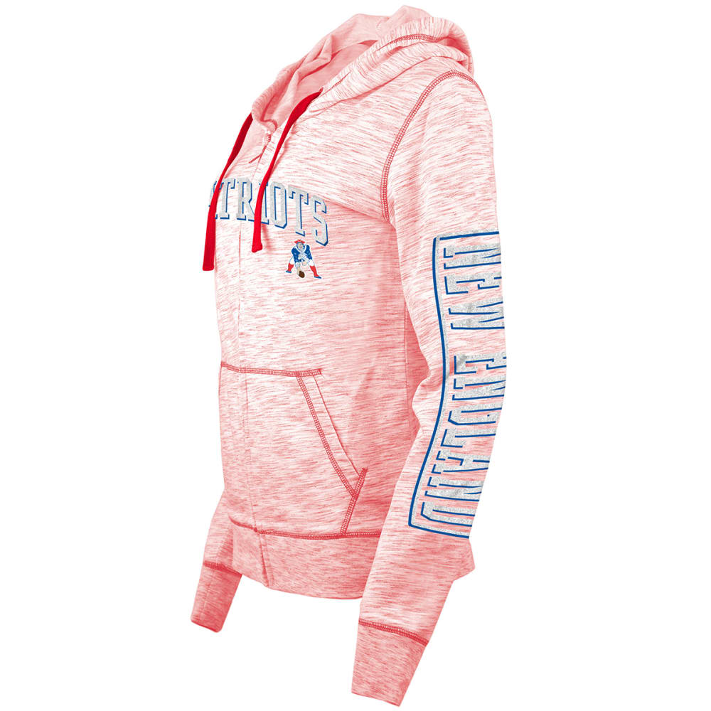 NEW ENGLAND PATRIOTS Women's Space-Dye Full-Zip Fleece Hoodie - RED