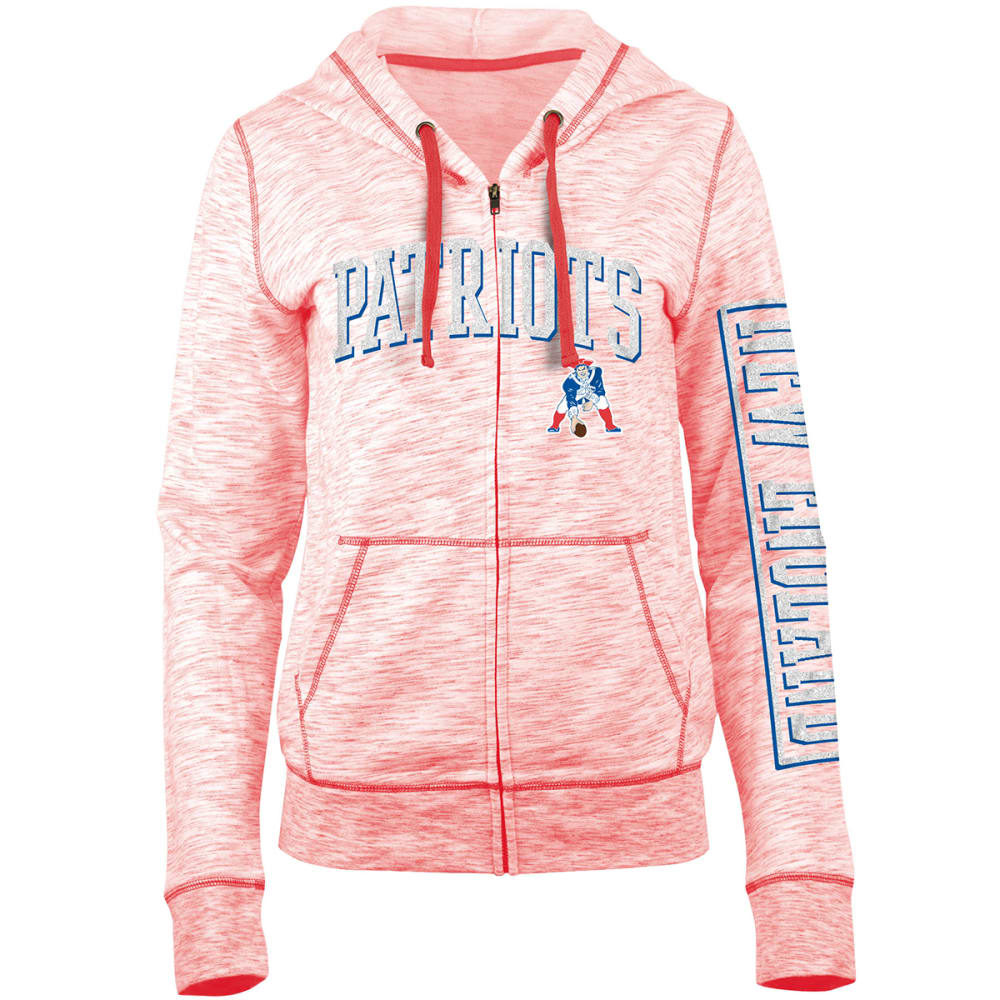 New England Patriots Women's Space-Dye Full-Zip Fleece Hoodie - Red, S