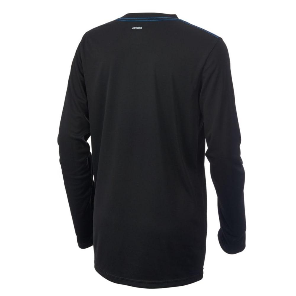 ADIDAS Boys' Badge of Sport Poly Long-Sleeve Tee - BLACK W/BLUE-K10