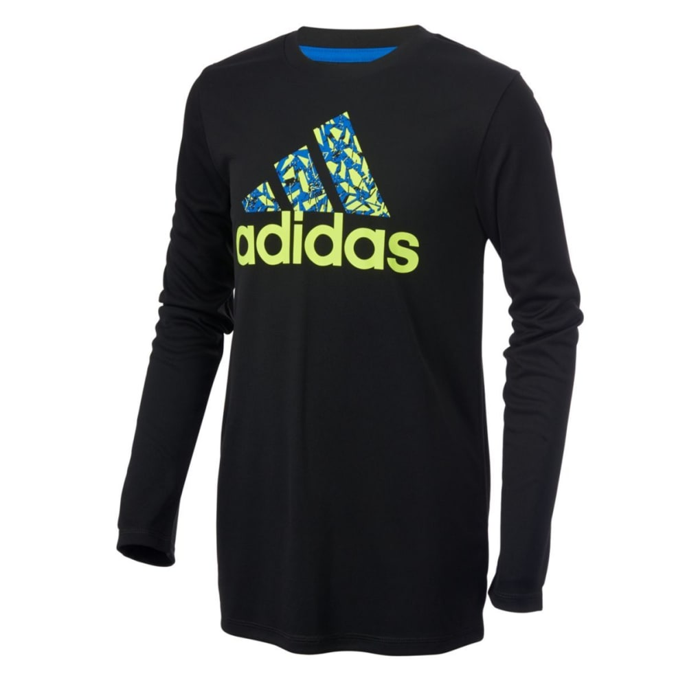 ADIDAS Boys' Badge of Sport Poly Long-Sleeve Tee - BLACK W/BLUE-K10