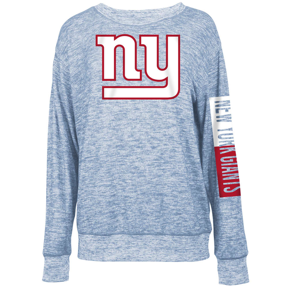 NEW YORK GIANTS Women's Space-Dye Rayon Crew Long-Sleeve Shirt - ROYAL BLUE
