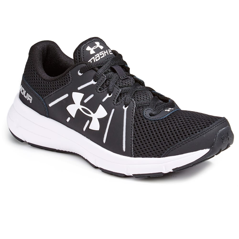 UNDER ARMOUR Women's Dash RN 2 Running Shoes, Black/White, Wide - BLACK