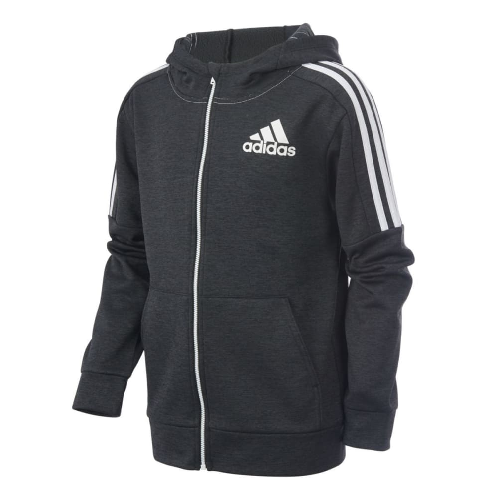 ADIDAS Boys' Indicator Melange Fleece Jacket - BLACK HTR-KO1H