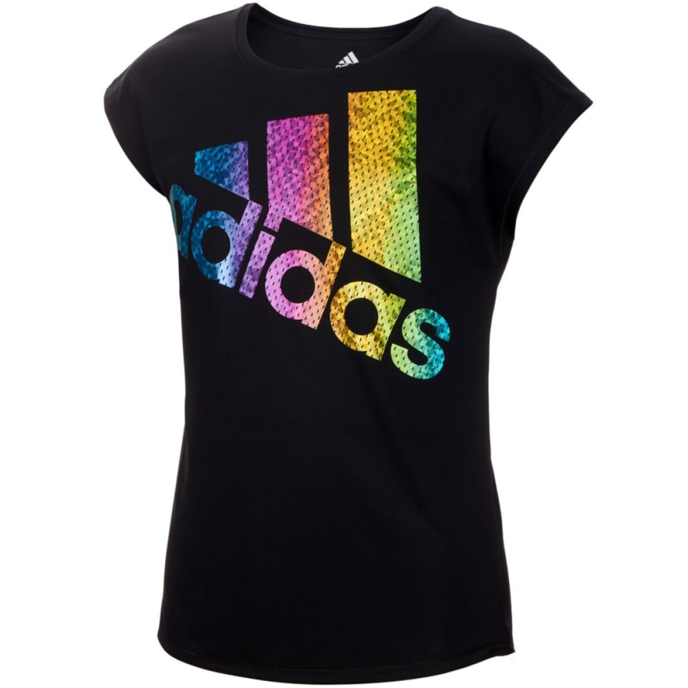 ADIDAS Girls' Just Shine Short-Sleeve Tee - BLACK-K01