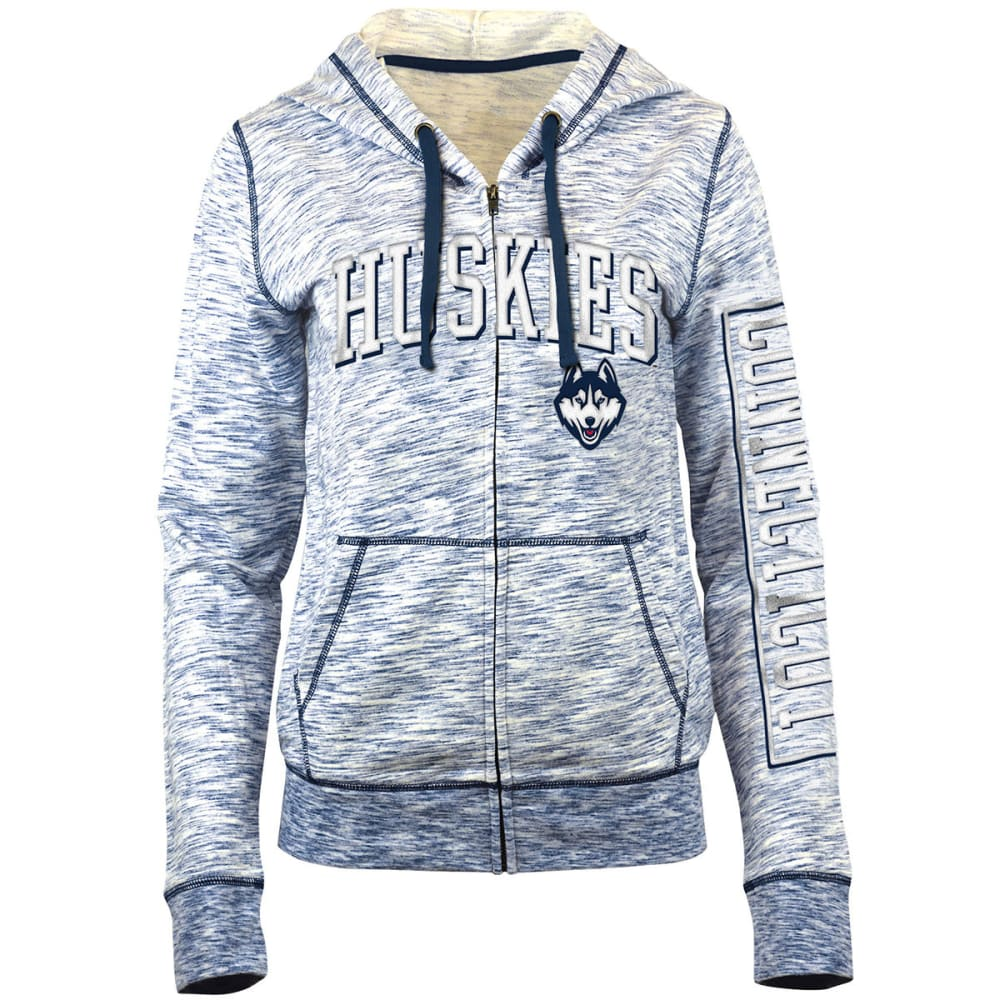 UCONN Women's Space-Dye Full-Zip Fleece Hoodie - NAVY
