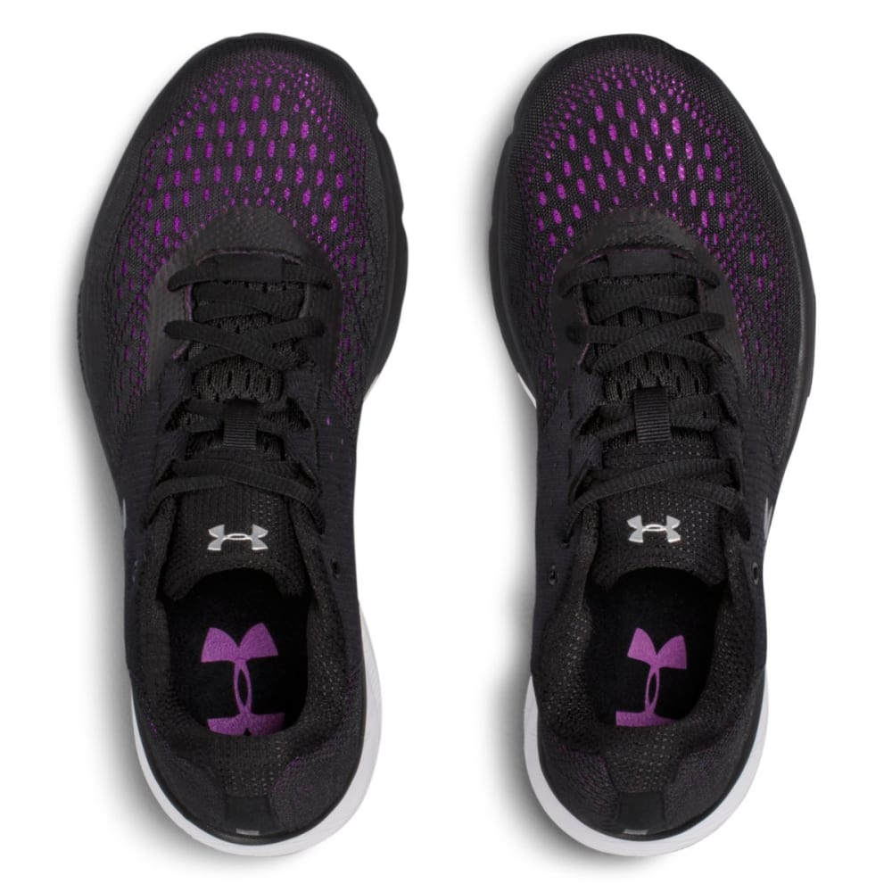 UNDER ARMOUR Women's UA Charged Rebel Running Shoes, Black/Purple Rave - BLACK