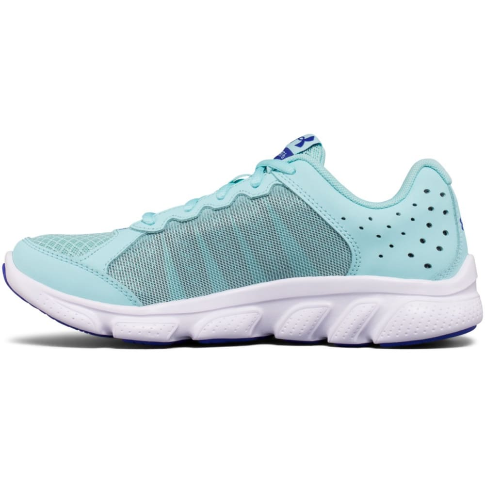 UNDER ARMOUR Girls' Grade School Micro G Assert 6 Running Shoes, Blue Infinity/White/Constellation Purple - INFINITY BLUE