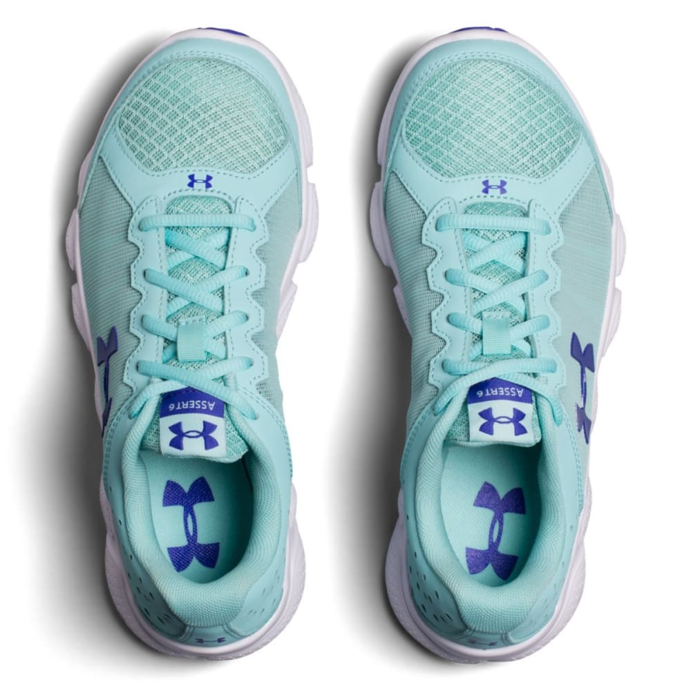 UNDER ARMOUR Girls' Grade School Micro G Assert 6 Running Shoes, Blue Infinity/White/Constellation Purple - INFINITY BLUE