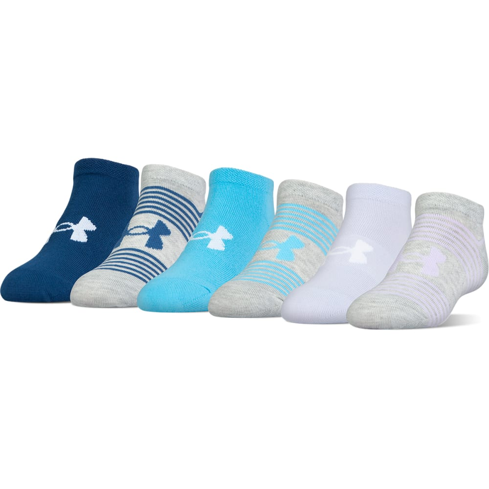 UNDER ARMOUR Women's Essential No-Show Liner Socks, 6 Pack - LAVENDER ICE ASSORT